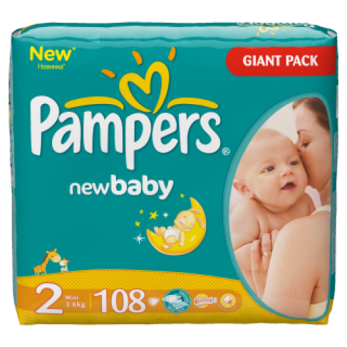 PAMPERS 2 NEW BABY 3-6KG (108)