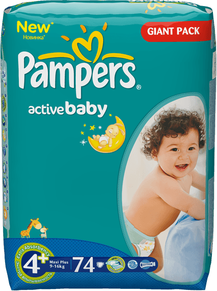 PAMPERS 4+ ACTIVE BABY 9-16KG GP(74)